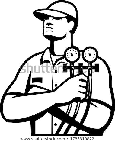 Aquecimento resfriamento técnico retro preto e branco Foto stock © patrimonio