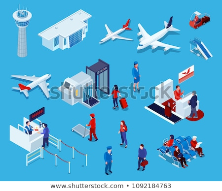 Passport Control Check Isometric Icons Set Vector Stock photo © pikepicture