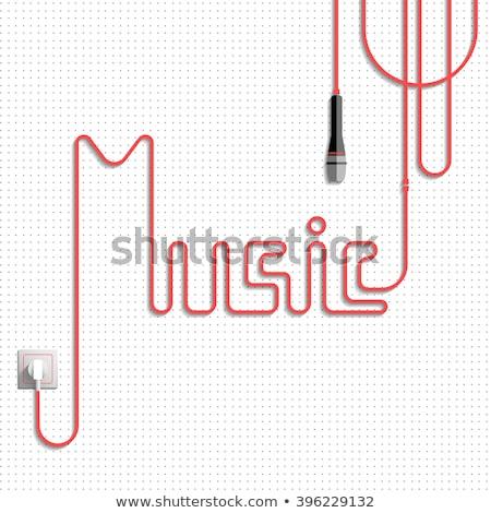 Pop woord kabel microfoon tekst witte Stockfoto © goir