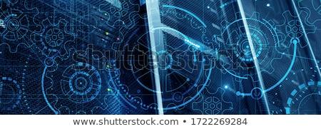 3D · bleu · Cog · icône · blanche · technologie - photo stock © cidepix