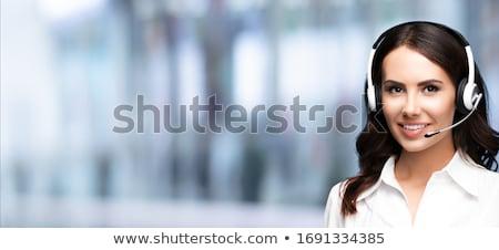 бизнеса · обслуживание · клиентов · телефон · красивой · улыбка - Сток-фото © darrinhenry