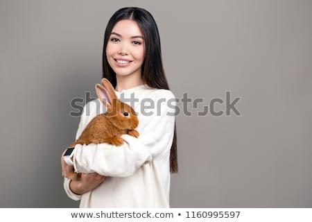 赤ちゃん · 白 · ウサギ · 草 · バニー · 食べ - ストックフォト © marylooo