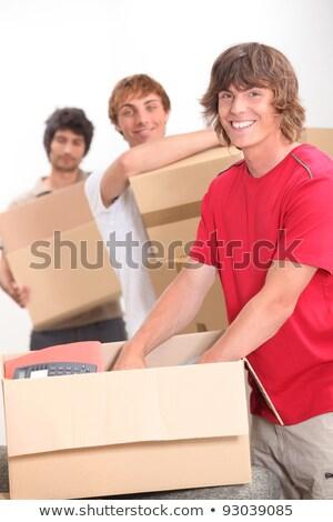 движущихся · вместе · улыбка · домой · студентов · мужчин - Сток-фото © photography33
