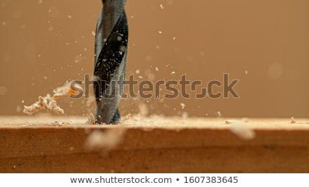Timmerman vervelend gat plank hout bouw Stockfoto © photography33