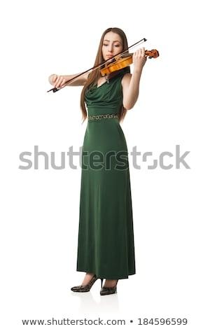 gyönyörű · lány · hegedűművész · fehér · mosoly · szépség · jókedv - stock fotó © happydancing