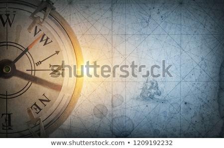 öreg · stílus · iránytű · papír · térkép · háttér - stock fotó © janpietruszka
