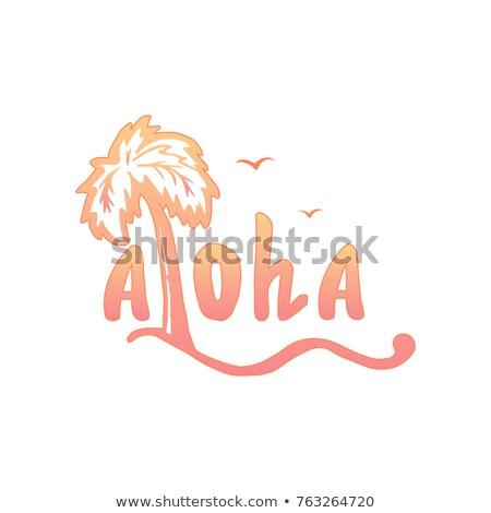 Fából készült színes szó aloha homok kagylók Stock fotó © AndreyKr