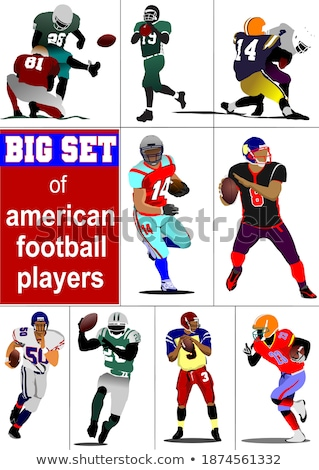 Big set of American football player s silhouettes in action. Vec Stock photo © leonido