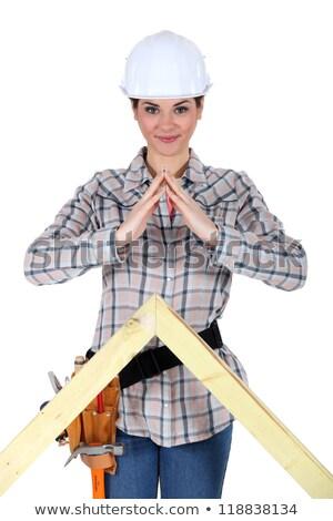 Kadın oluşturucu kereste ev ahşap dizayn Stok fotoğraf © photography33
