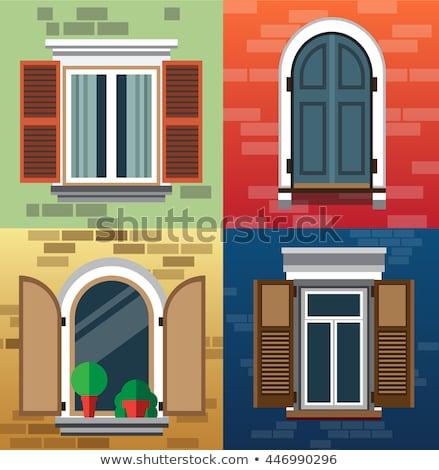 Casa velha windows flores papel madeira cidade Foto stock © Len44ik