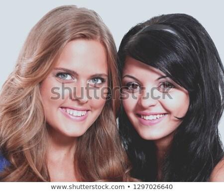 retrato · belo · mulher · jovem · olhando · feliz · branco - foto stock © dacasdo