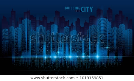 abstract night background with silhouette of city Stock photo © lem