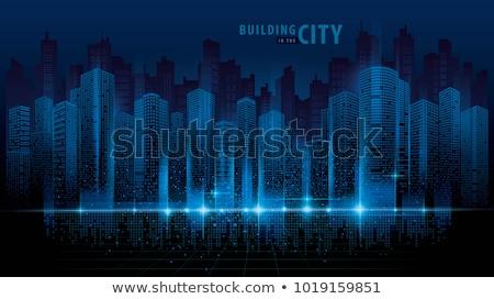soyut · gece · siluet · şehir · gündoğumu · ofis - stok fotoğraf © lem