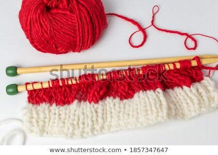 чулок стежка красный шерсти иглы Сток-фото © sarahdoow
