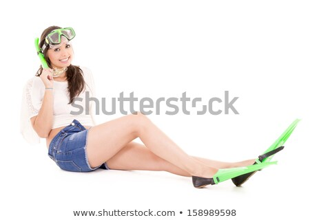 Vacation woman in summerwear wearing snorkel and flippers Stock photo © pxhidalgo