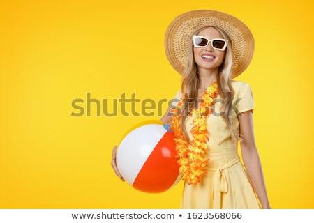Sorridente menina bola de praia mulher mão Foto stock © pxhidalgo