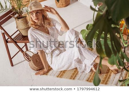 小さな ファッション モデル 座って 階 肖像 ストックフォト © dukibu