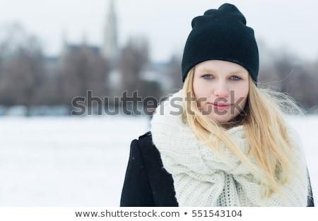 vrouw · bleek · jas · lang · zwart · haar · sexy - stockfoto © maros_b