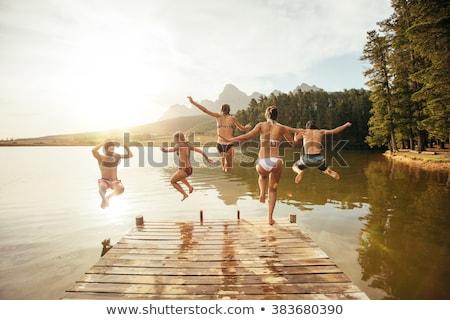 człowiek · obok · jezioro · charakter · fitness - zdjęcia stock © kzenon