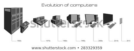 Computador evolução ícones primeiro lâmpada escuro Foto stock © Yuriy