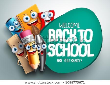 engraçado · ilustração · de · volta · à · escola · verde · maçã · óculos - foto stock © muuraa