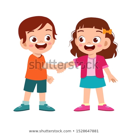 two kids handshaking with a smile stock photo © Giulio_Fornasar