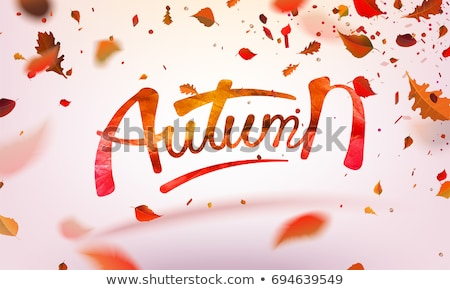 watercolor collection of beautiful orange autumn leaves isolated on white background stock photo © gladiolus
