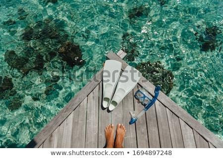 snorkel · máscara · branco · mar · verão · viajar - foto stock © AEyZRiO