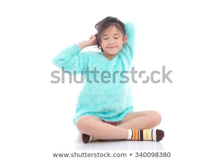 Cute женщину сидят изолированный белый Сток-фото © jeancliclac