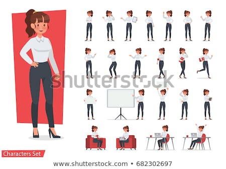 Set of Cartoon Female Manager Character Stock photo © Voysla