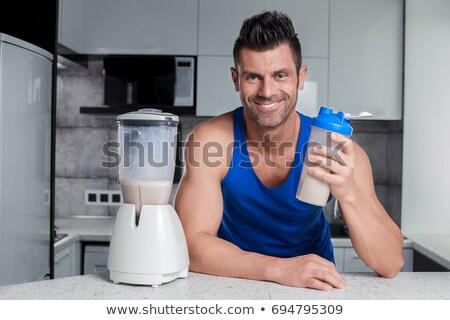 幸せ 筋肉の 男 タンパク質 ドリンク ストックフォト © wavebreak_media
