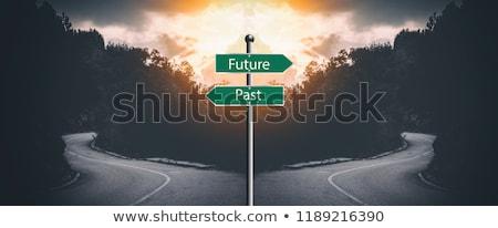 過去 将来 道路標識 背景 赤 白 ストックフォト © fuzzbones0