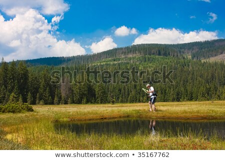 Biologist exploring a bog Stock photo © igabriela