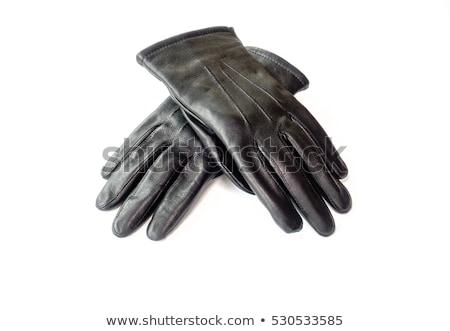 çift siyah deri eldiven yalıtılmış beyaz Stok fotoğraf © GeniusKp