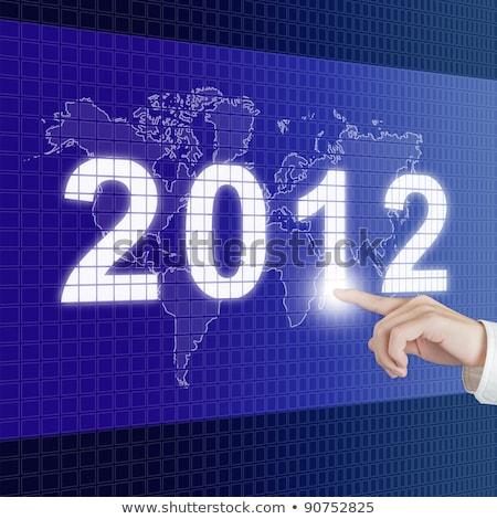 2012 słowo niebieski pokładzie strony komunikacji Zdjęcia stock © fuzzbones0