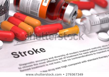 Stockfoto: Hersenen · aanval · afgedrukt · diagnose · medische · oranje