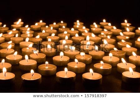 licht · veel · kaarsen · brandend · zwarte · achtergrond - stockfoto © vlad_star