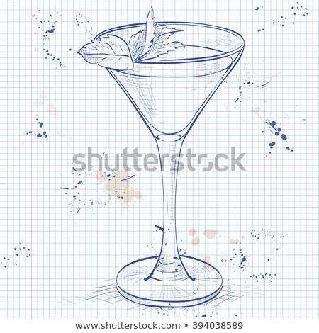 Koktél notebook oldal konyak likőr borsmenta Stock fotó © netkov1