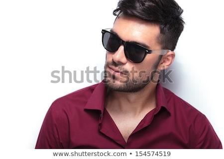 fiú · arc · közelkép · portré · szkeptikus · szemüveg - stock fotó © feedough