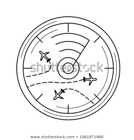 Radar képernyő repülőgépek vonal ikon sarkok Stock fotó © RAStudio