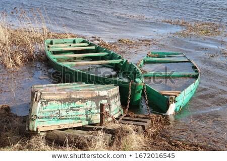 Trois bois bateaux rive horizontal eau Photo stock © olykaynen