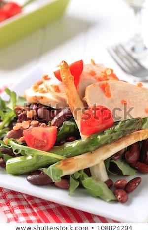 鶏の胸肉 フィレット 豆 サラダ スライス ストックフォト © Digifoodstock