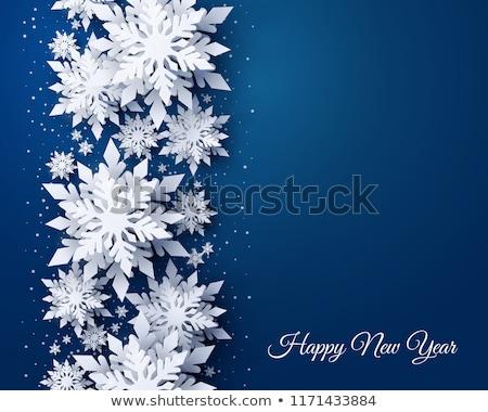 Blauw winter sneeuwvlokken rij geïsoleerd witte Stockfoto © Vitalina_Rybakova