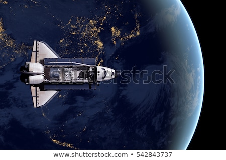 space shuttle and aerial night view of the world stock photo © nasa_images