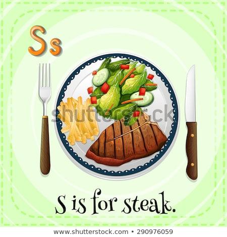 Flashcard letter S is for steak Stock photo © bluering