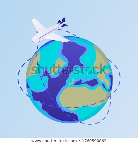 repülőgép · Föld · illusztráció · üzlet · Föld · kék - stock fotó © bluering