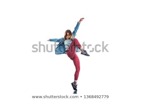 Jonge danser omhoog vloer dans studio Stockfoto © dash