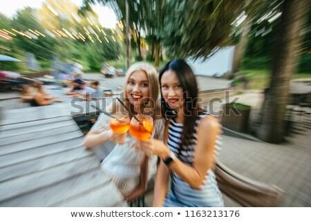 женщину · смеясь · улице · Европа · туристических - Сток-фото © giulio_fornasar