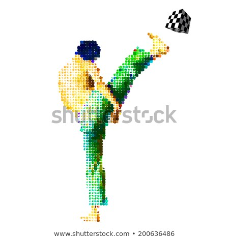 Vetor jogador de futebol praça bola homem Foto stock © SwillSkill