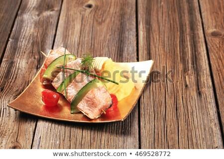 Saumon avocat brochette de pomme de terre dîner plaque Photo stock © Digifoodstock